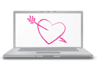 Laptop computer screen with drawn love heart and arrow