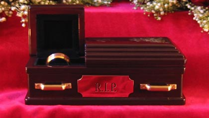 Not sure what to do with your wedding ring after a divorce? How about the wedding ring coffin?