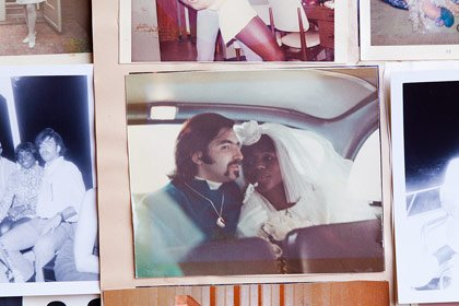 Chris and Minerva Warwin, an interracial couple, on their wedding day.