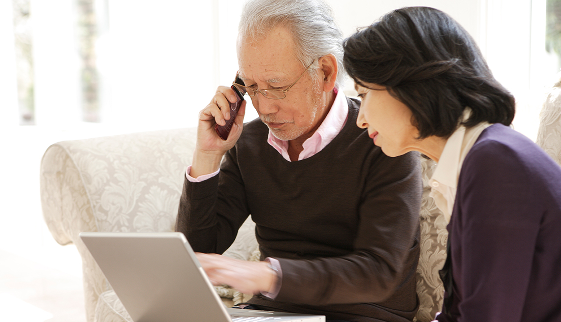 Mature couple, Asian-American, shopping, internet, AARP Research, Economic Security, Work