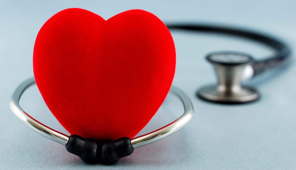 toy red heart, stethoscope, AARP Research, Health care