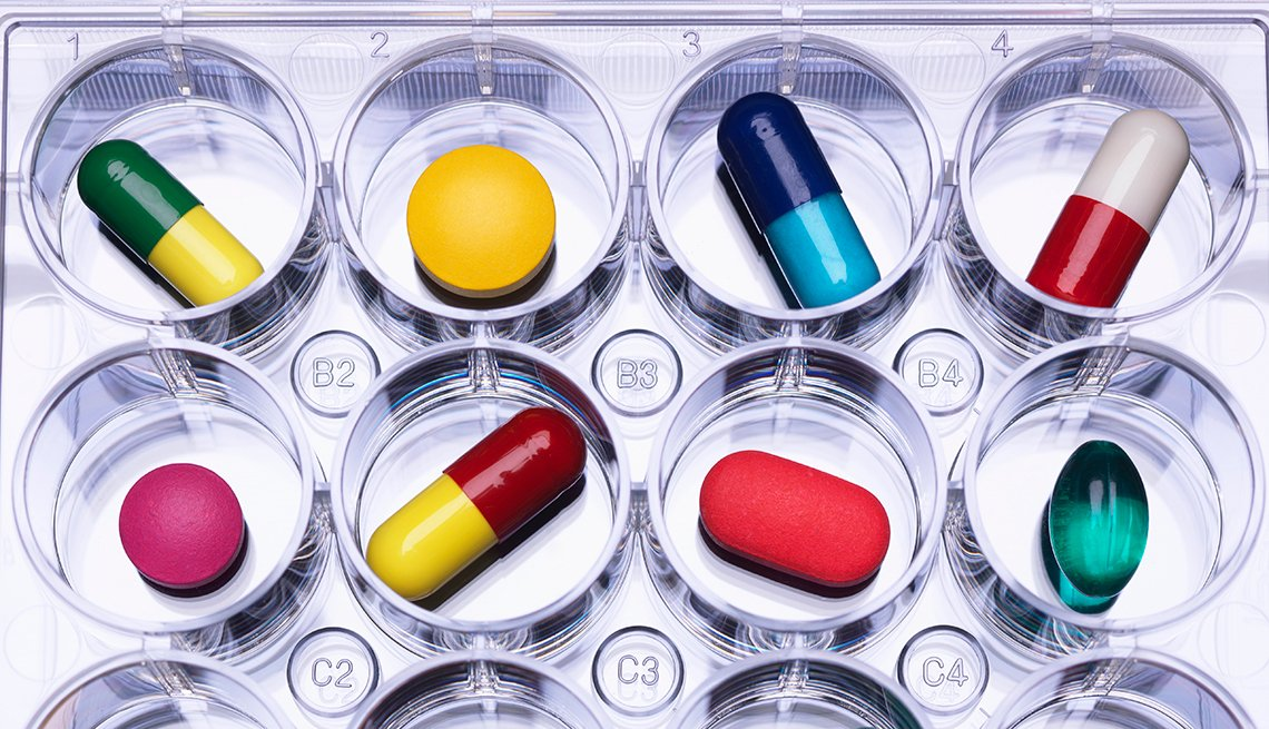 Prescription drugs, pills in tray, AARP Research, Health care