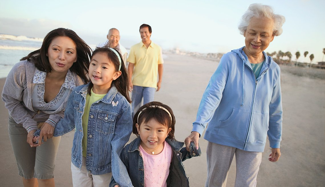 Asian family, walking on beach, multi-generational, AARP Research, Life, Leisure