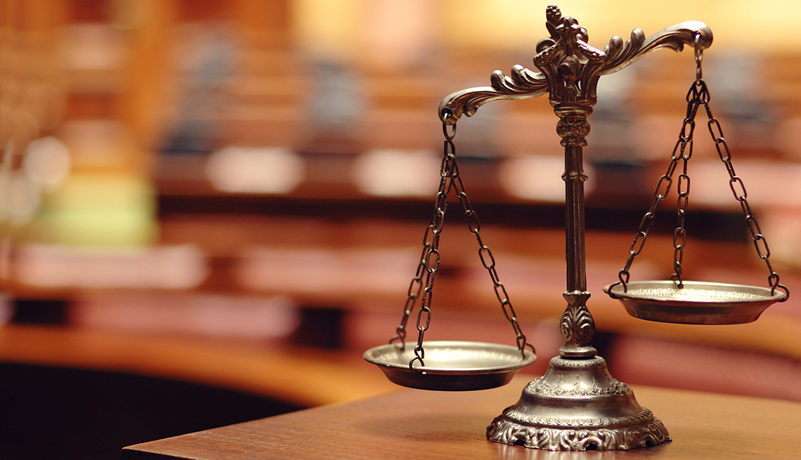 Scales of justice, courtroom, legal, AARP Research, Life, Leisure