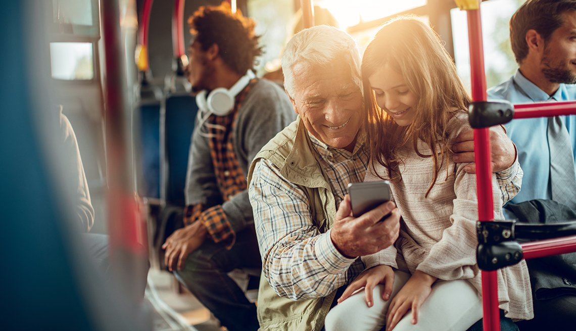 Grandfather, granddaughter, riding bus, AARP Research, Livable Communities