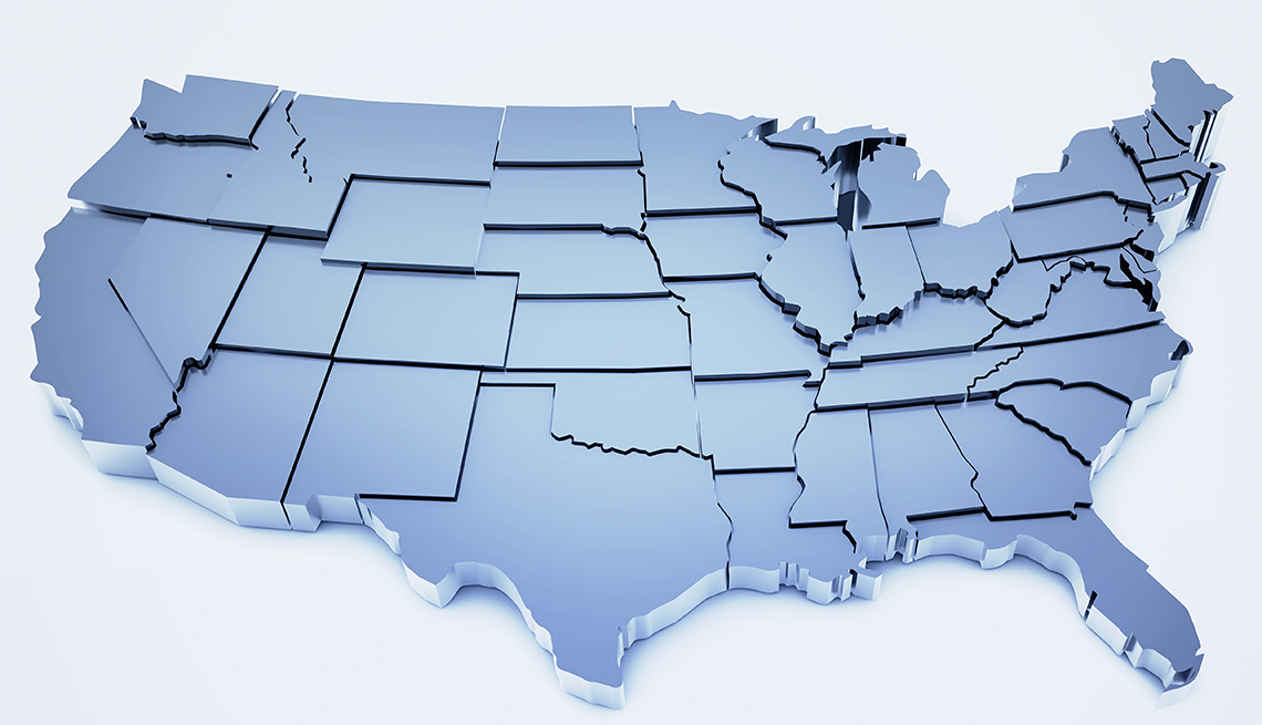Three-dimensional, United States map, AARP Research, State Resources