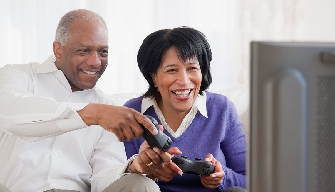 Mature couple, playing video game, Television, Video, AARP Research, Technology