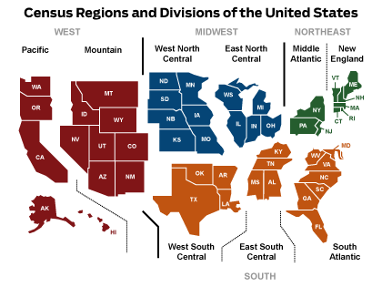 Census Regions and Divisions of the United States