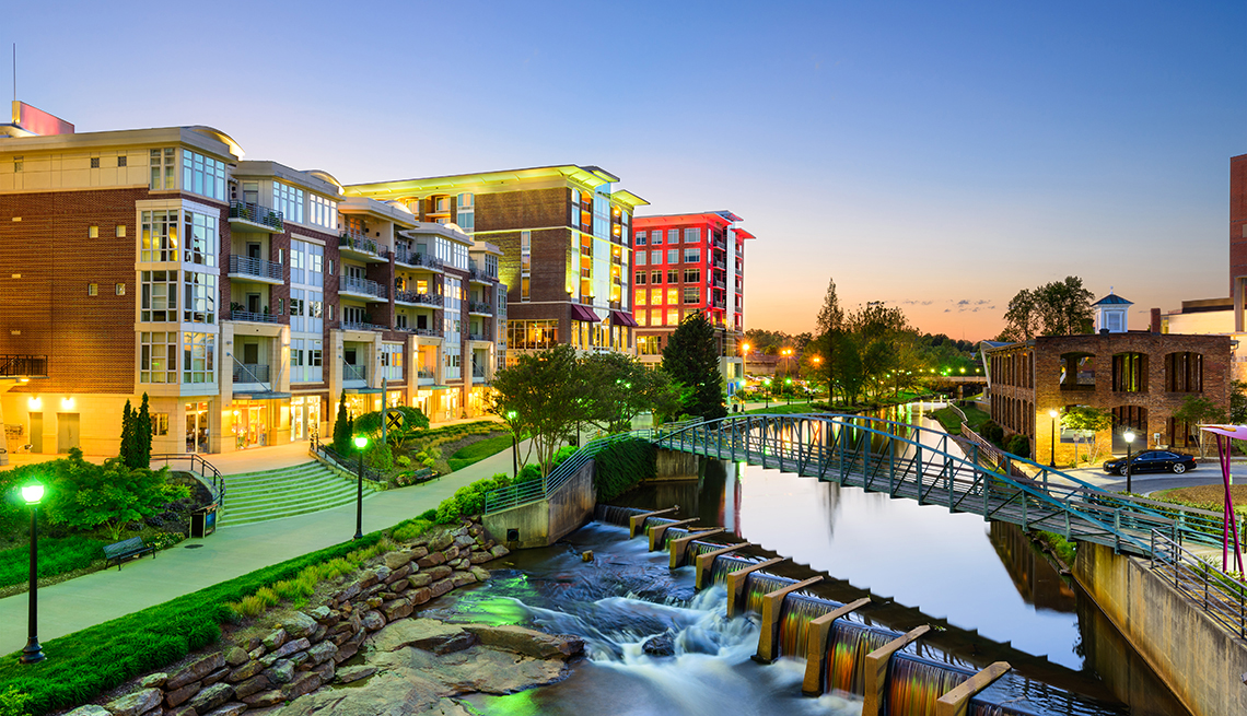 Greenville, South Carolina, USA downtown cityscape on the Reedy River.