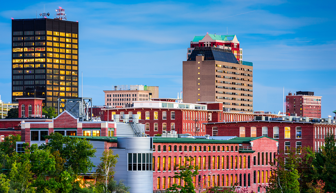 Skyline view of Manchester, New Hampshire