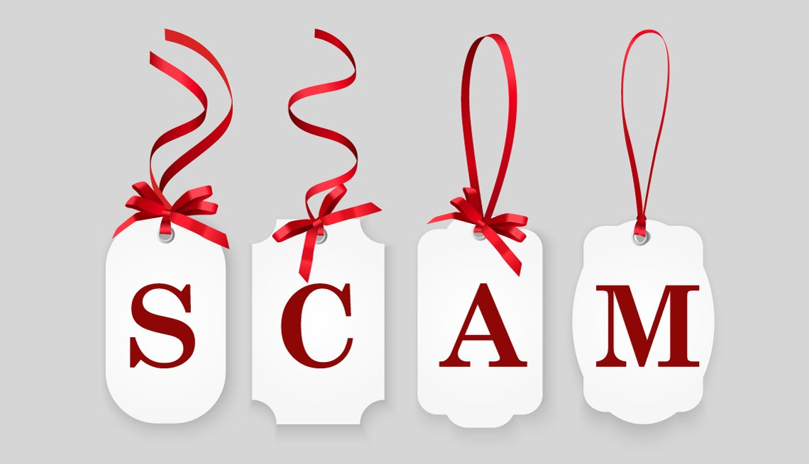 Four white gift tags with red ribbons. Tags spell scam