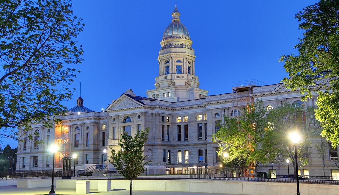 Wyoming state capitol building at night