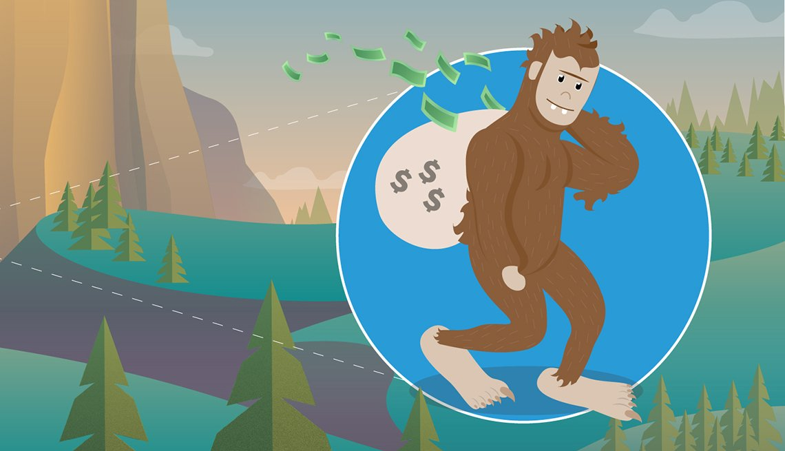 Illustration of big foot carrying a bag of money