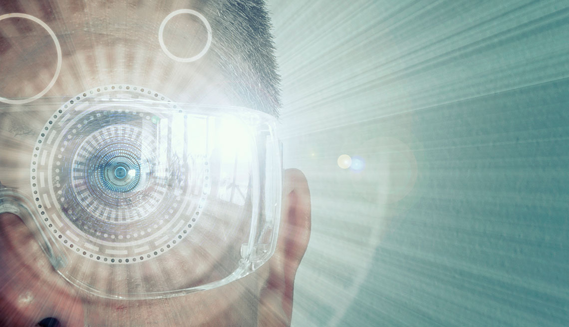 Augmented Reality Digital Eye of a Man