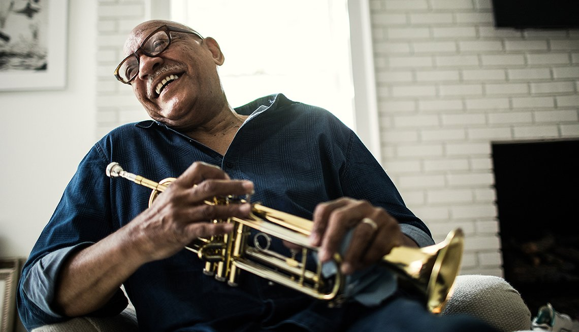Senior man with trumpet