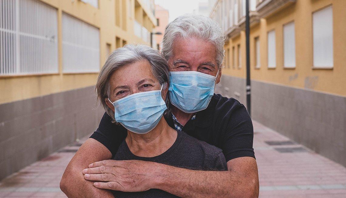 Older Couple in Medical Masks