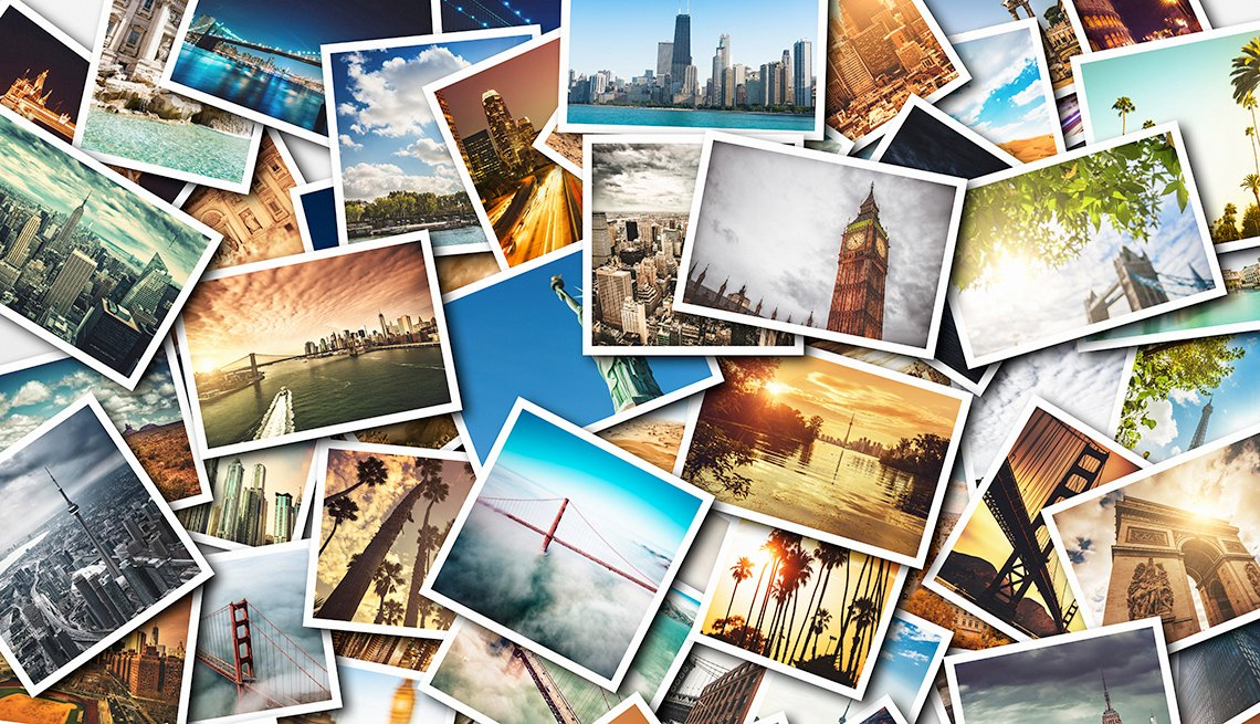 Travel photographs laid out in a collage
