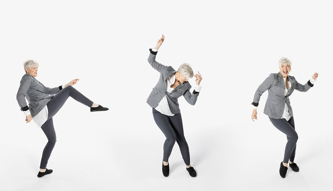 Three sequential images of a woman dancing