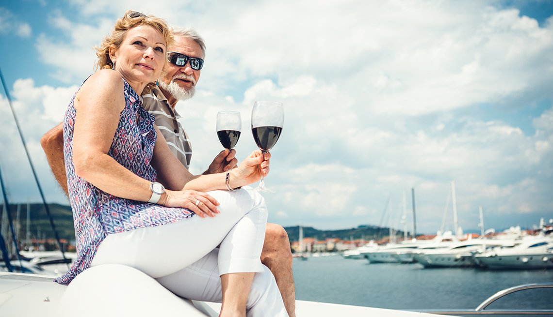Older Couple Drinking Wine on a Yacht