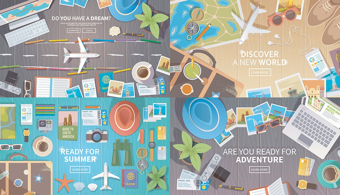 Illustration Showing Things Travelers Use in Planning Trip, AARP Travel Research, 2018 Travel Trends