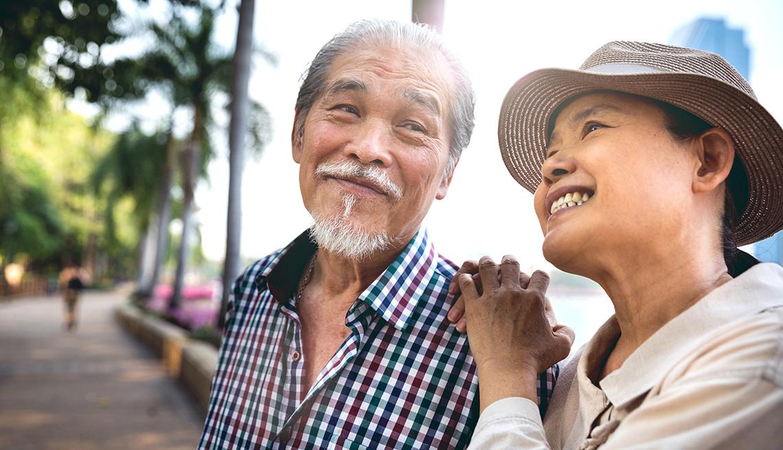 Senior Thai Couple Enjoying the Park