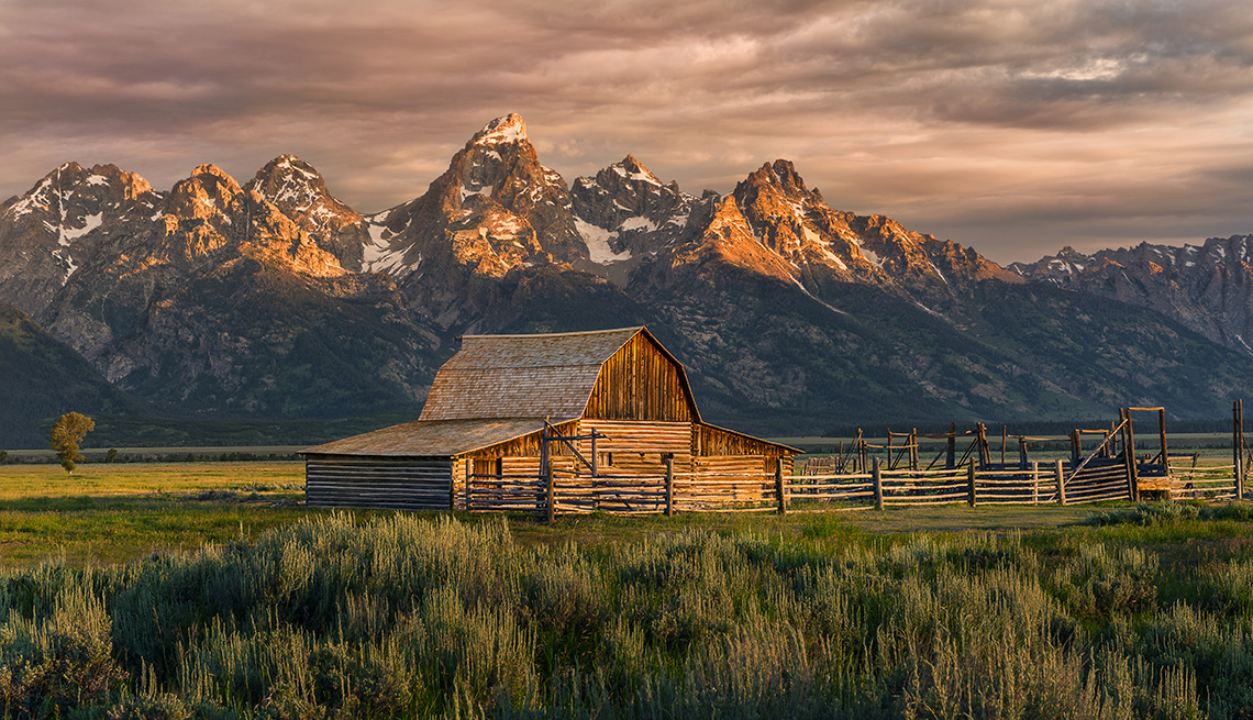 A Barn And Mountains In Jackson Wyoming