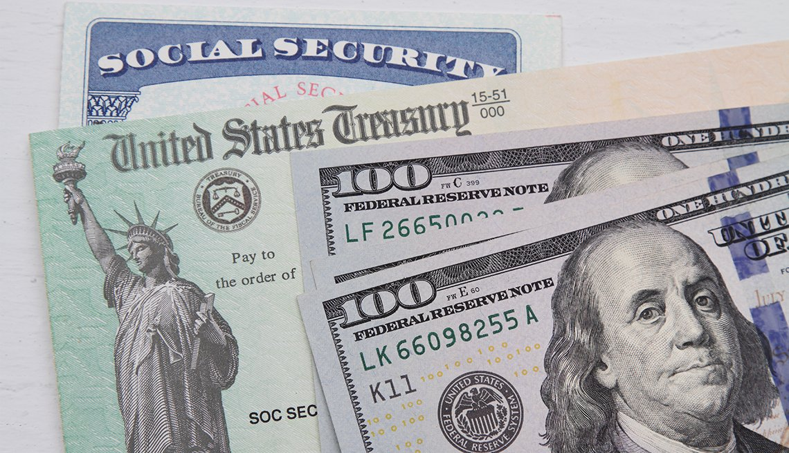 cash, social security card and social security check