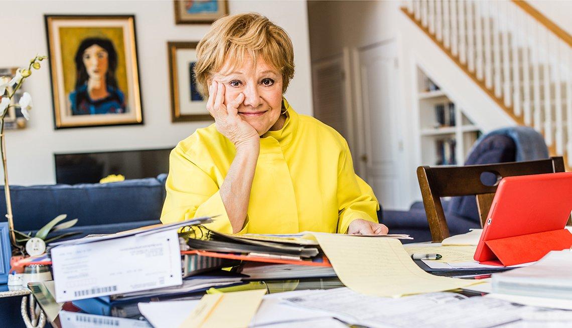 Escritora Leslie Milk en su casa en Rockville, Maryland, enero 18, 2018.