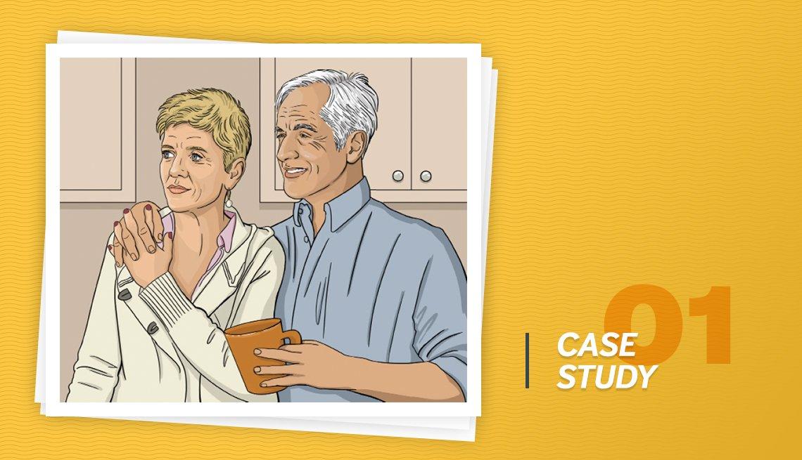 Ilustración pareja mayor con el letrero en inglés, Caso de estudio 01