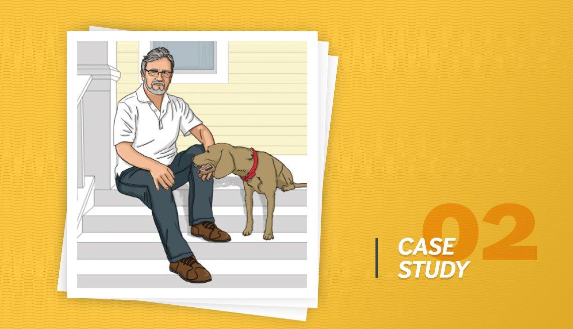 Ilustración de un hombre sentado al lado de su perro y el letrero caso de estudio 02.