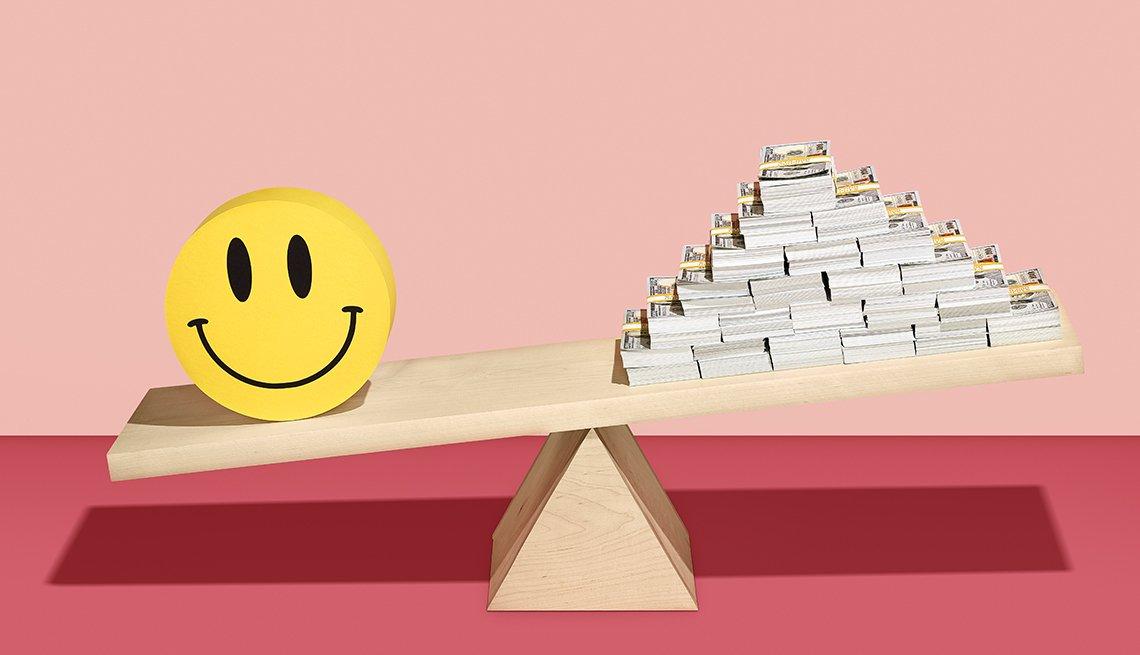 Ilustración de una balanza con una cara feliz a un lado y una pirámide de billetes al otro.