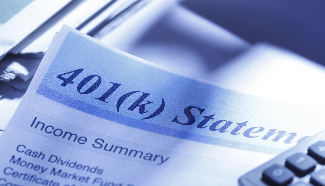 Estado de una cuenta de 401(k).