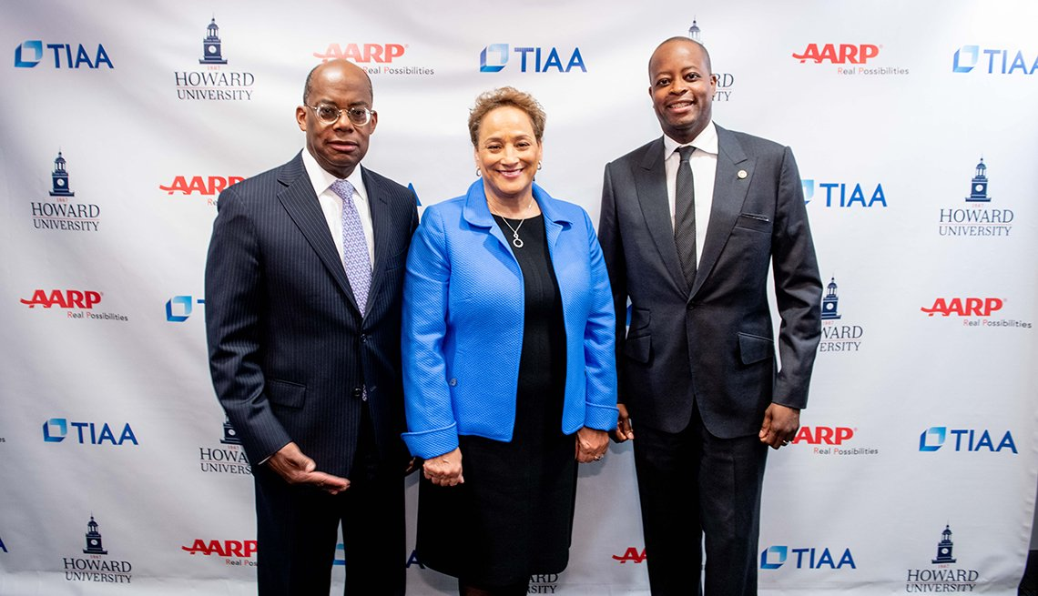 TIAA CEO Roger W. Ferguson, AARP CEO Jo Ann Jenkins, and Howard University President Wayne A. I. Frederick, M.D., MBA. at Jan 31, 2020 pose for photo at Howard U campus event
