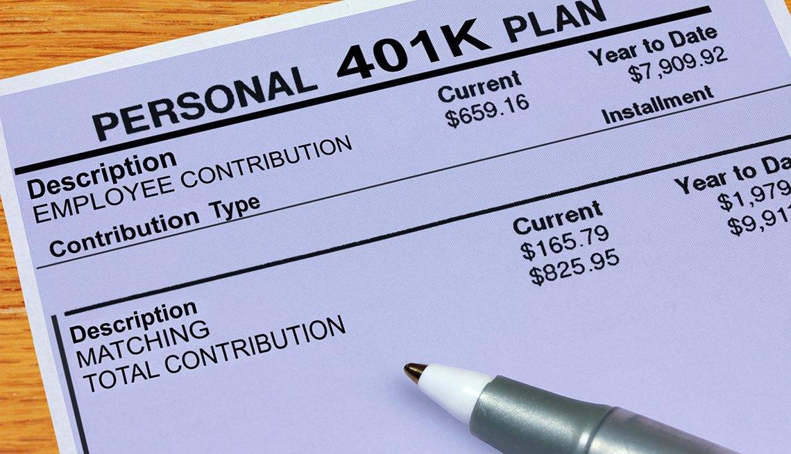 Estado de cuenta de un plan de retiro 401k.
