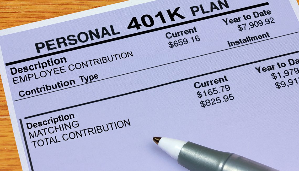 A statement showing 401K plan matching and total contribution balances