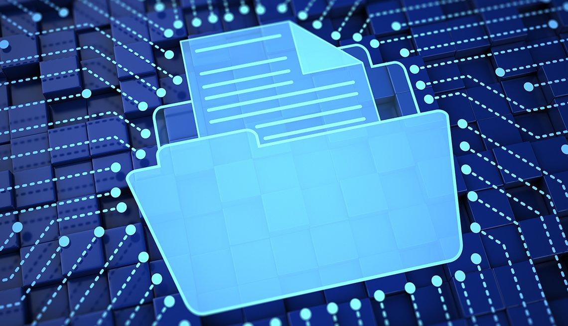 Ilustración de un ícono de una carpeta con un archivo encima de un chip de computadora.