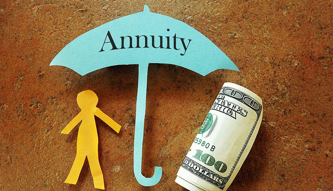 Papel recortado en forma de sombrilla con el letrero anualidades y debajo una figura humana y un billete de 100 dólares.