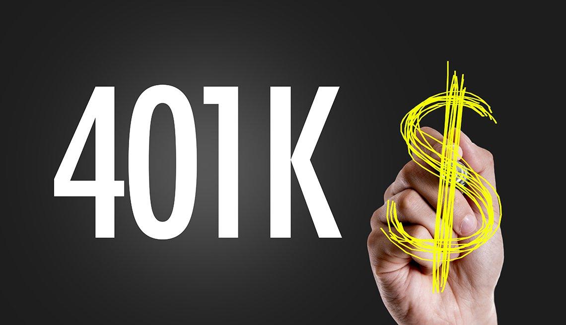 401k con un signo de dólar escrito a mano en una pizarra.
