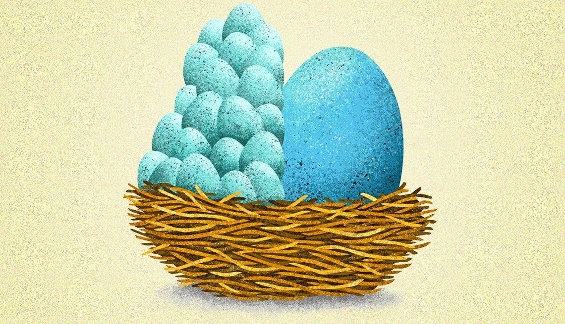 Ilustración de un nido con un huevo grande y huevos pequeños apilados.