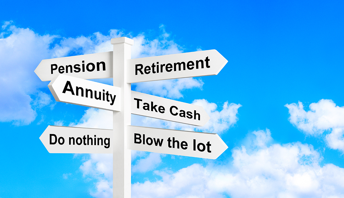 illustrated sign against blue sky points in various directions related to retirement income and spending options