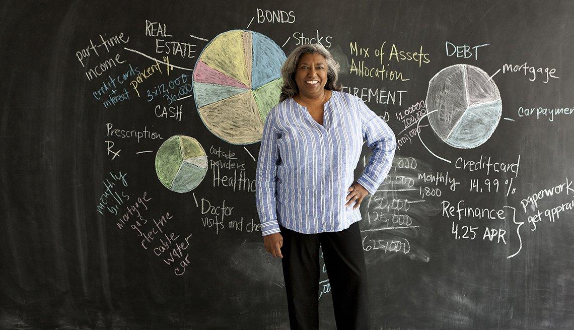 Mujer sonriendo frente a un tablero con notas de un presupuesto financiero para la jubilación.