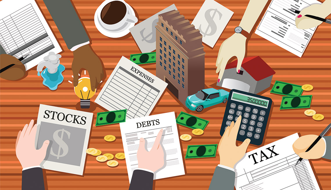 a busy illustration of many hands working on saving for future finances in numerous ways