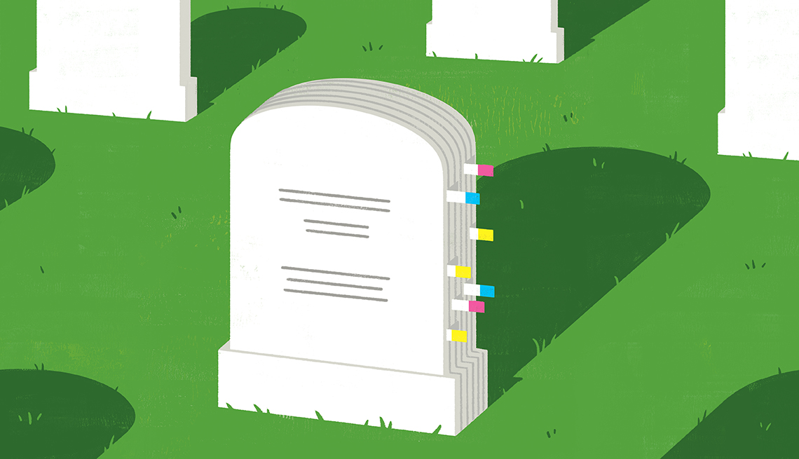 headstone with marker tabs as if it were a binder of documents