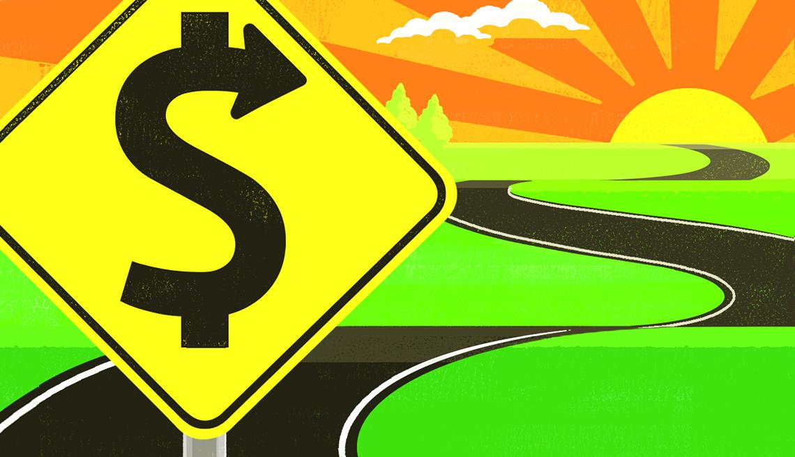 Ilustración de una carretera con una señal de tránsito con un símbolo de dólares.