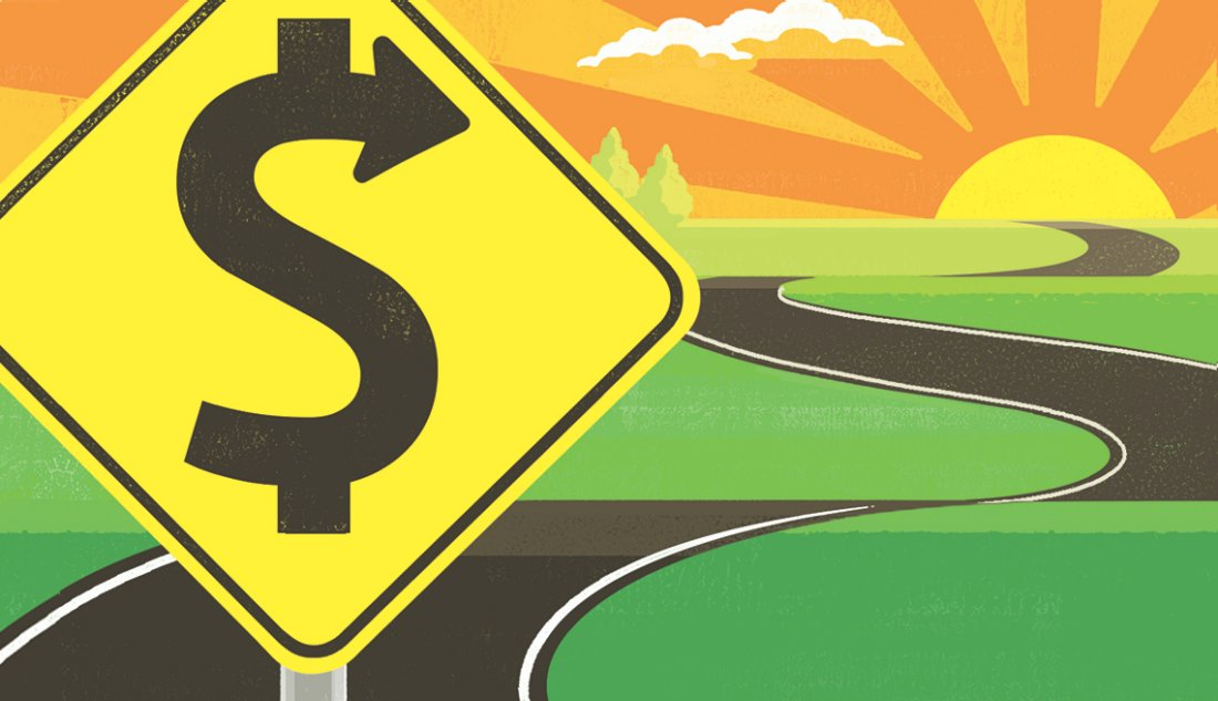 road sign with an ess curve that is a dollar sign