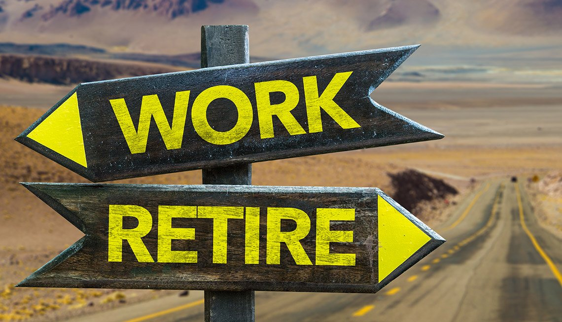 """a wood sign with yellow lettering pointing to """"Work"""" in one direction, and to """"Retire"""" in another direction, is superimposed over a landscape of a long road and horizon"""