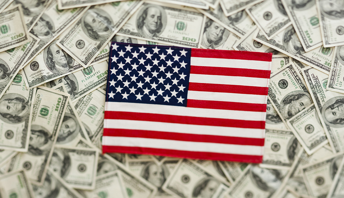 cash with an American flag on top