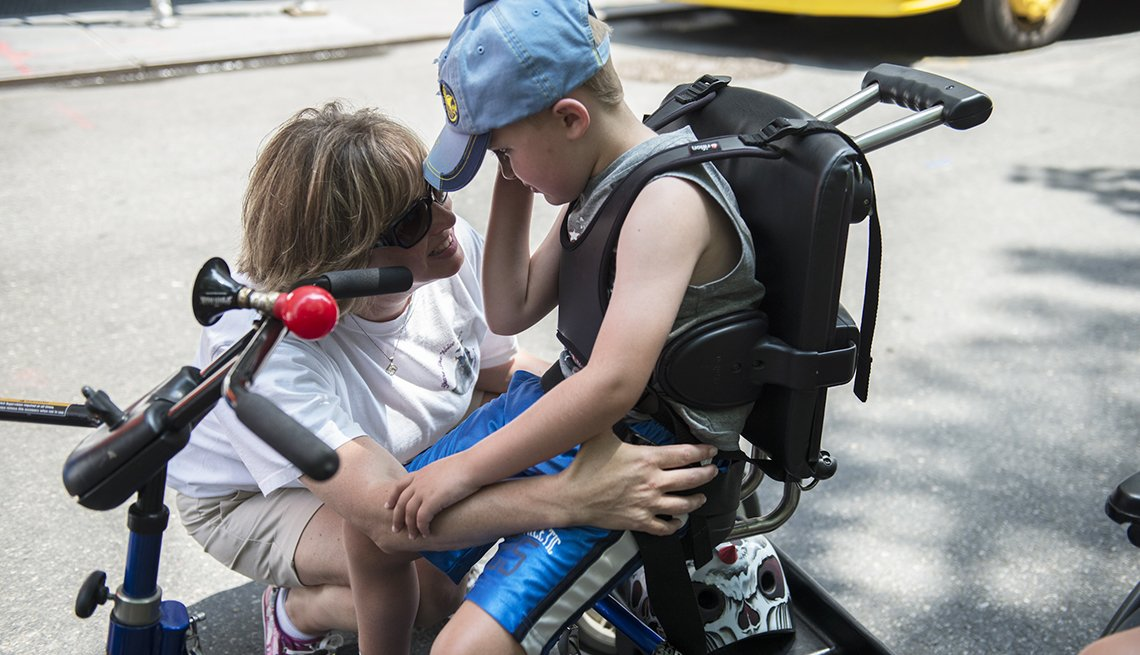 Mom and son with physical disability