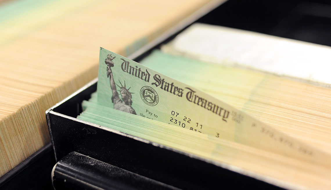 Social Security check in drawer