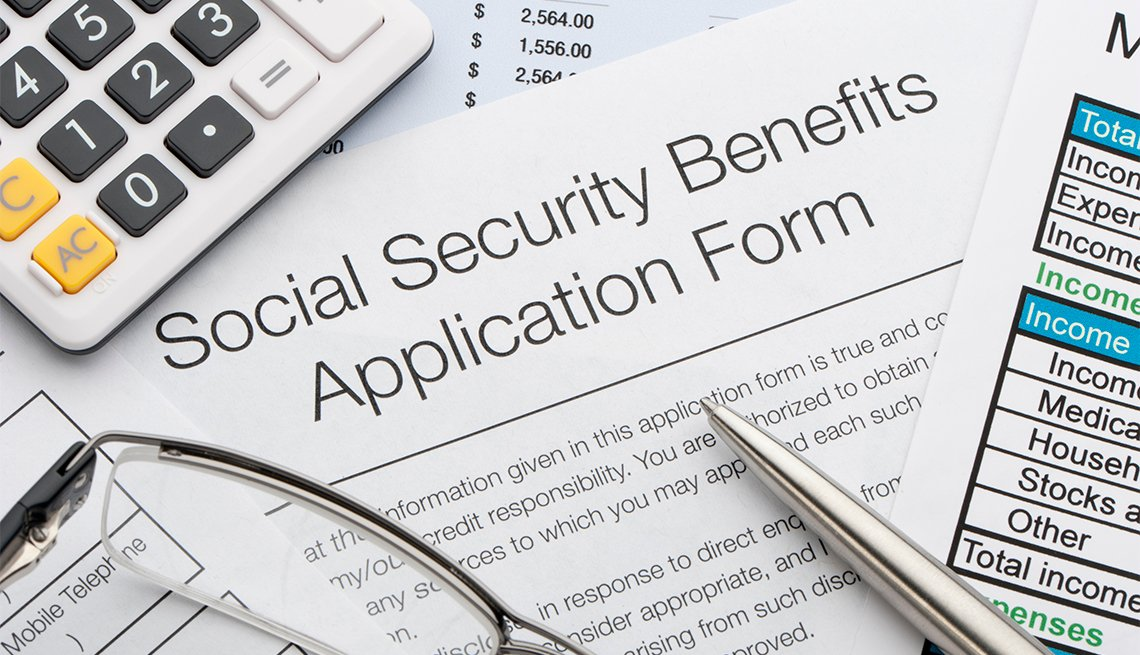 Social security application, calculator, pen